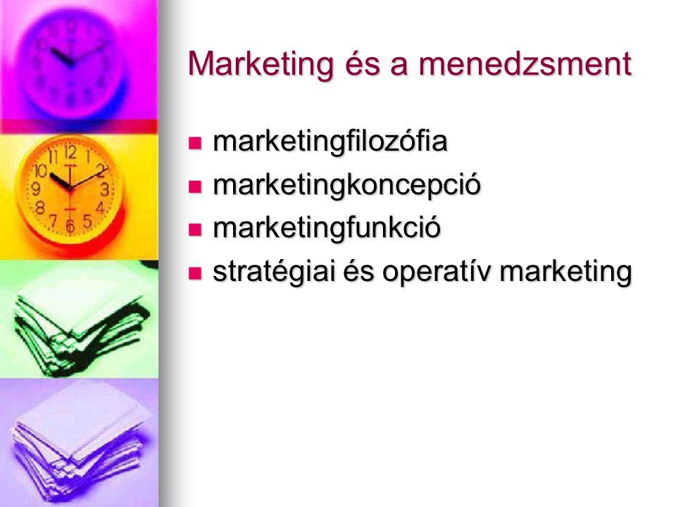 Marketing és a menedzsment marketingfilozófia marketingfilozófia marketingkoncepció marketingkoncepció marketingfunkció marketingfunkció stratégiai és