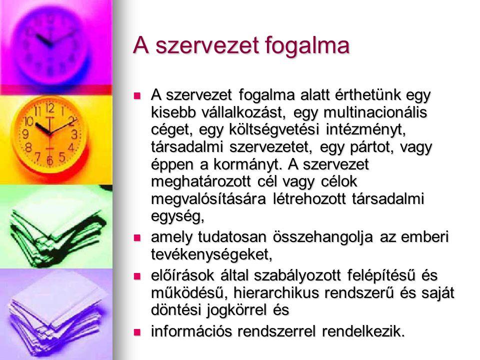A szervezet fogalma A szervezet fogalma alatt érthetünk egy kisebb vállalkozást, egy multinacionális céget, egy költségvetési intézményt, társadalmi s