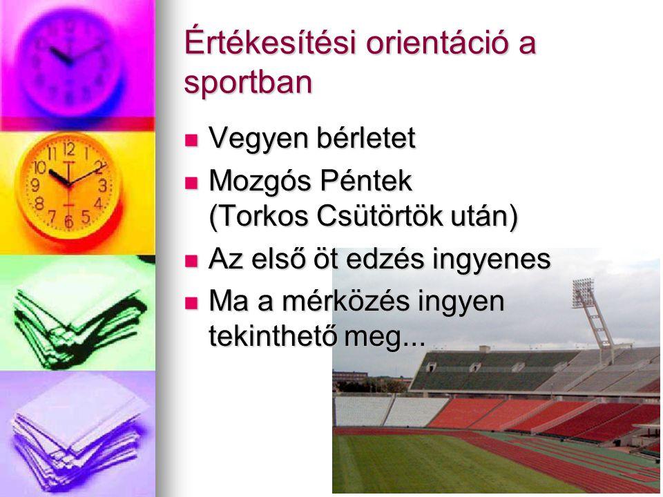 Értékesítési orientáció a sportban Vegyen bérletet Vegyen bérletet Mozgós Péntek (Torkos Csütörtök után) Mozgós Péntek (Torkos Csütörtök után) Az első