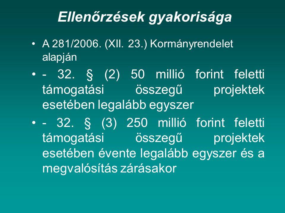 Ellenőrzések gyakorisága A 281/2006.(XII. 23.) Kormányrendelet alapján - 32.
