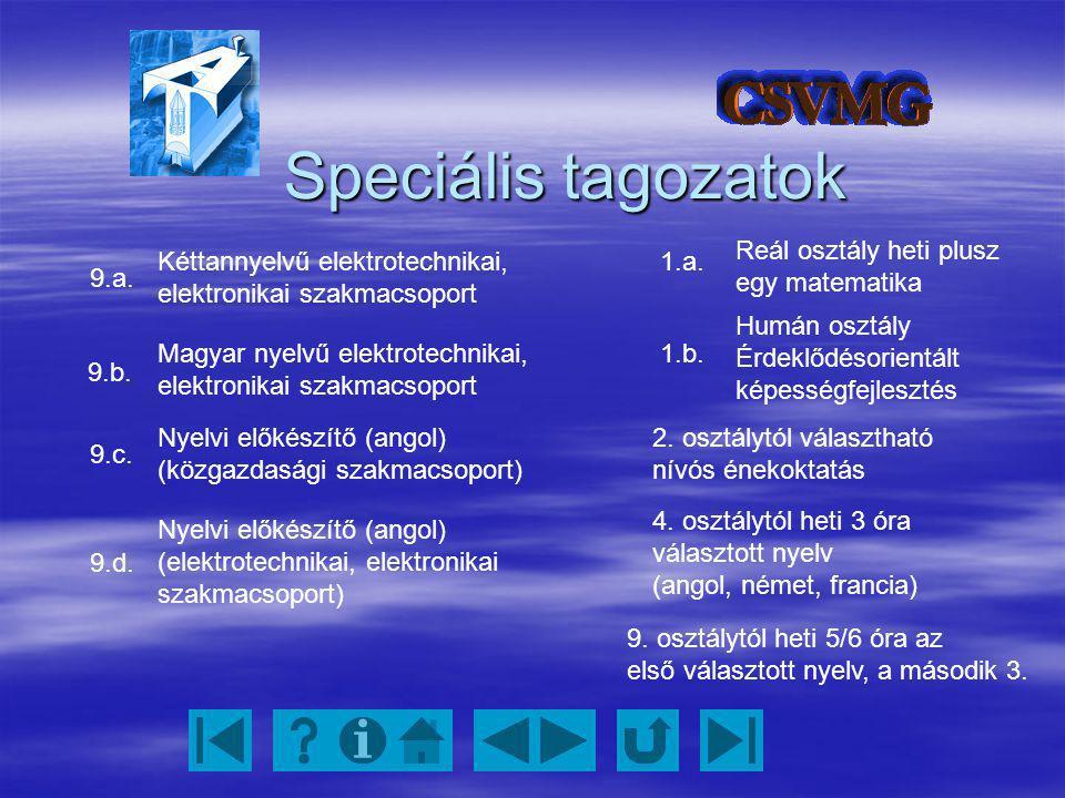 Speciális tagozatok Kéttannyelvű elektrotechnikai, elektronikai szakmacsoport Magyar nyelvű elektrotechnikai, elektronikai szakmacsoport Nyelvi előkés