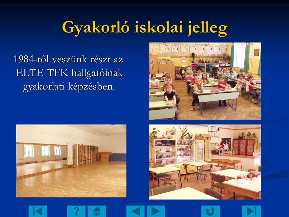 Gyakorló iskolai jelleg 1984-től veszünk részt az ELTE TFK hallgatóinak gyakorlati képzésben.