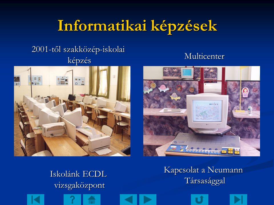 Informatikai képzések 2001-től szakközép-iskolai képzés 2001-től szakközép-iskolai képzés Iskolánk ECDL vizsgaközpont Iskolánk ECDL vizsgaközpont Mult