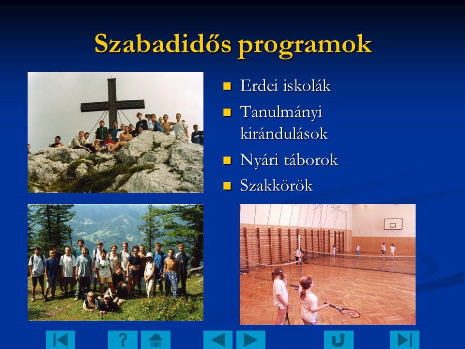 Szabadidős programok Erdei iskolák Tanulmányi kirándulások Nyári táborok Szakkörök