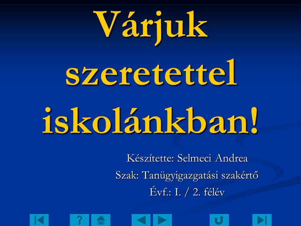 Várjuk szeretettel iskolánkban! Készítette: Selmeci Andrea Szak: Tanügyigazgatási szakértő Évf.: I. / 2. félév