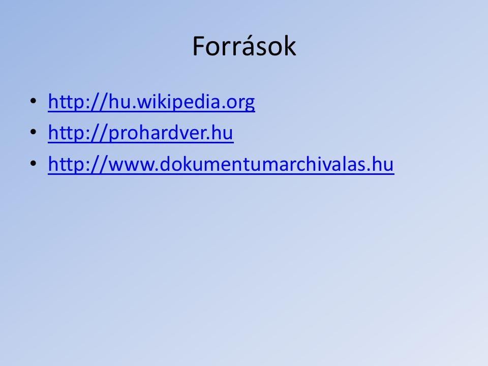 Források http://hu.wikipedia.org http://prohardver.hu http://www.dokumentumarchivalas.hu