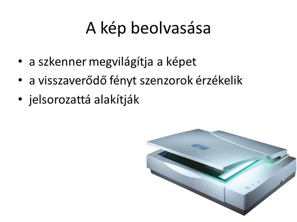 A kép beolvasása a szkenner megvilágítja a képet a visszaverődő fényt szenzorok érzékelik jelsorozattá alakítják