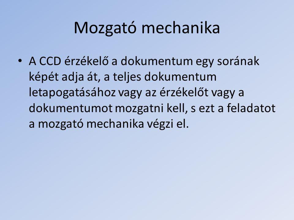 Mozgató mechanika A CCD érzékelő a dokumentum egy sorának képét adja át, a teljes dokumentum letapogatásához vagy az érzékelőt vagy a dokumentumot moz