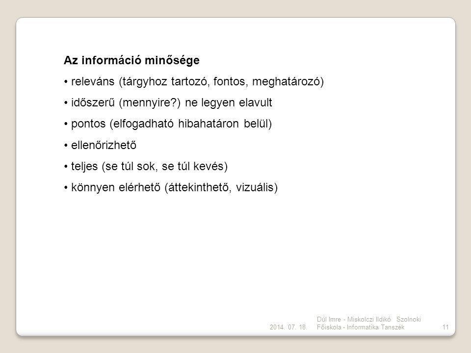 2014. 07. 18. Dúl Imre - Miskolczi Ildikó Szolnoki Főiskola - Informatika Tanszék11 Az információ minősége releváns (tárgyhoz tartozó, fontos, meghatá