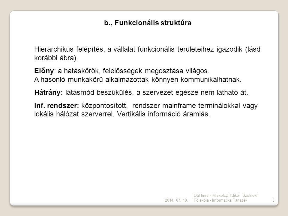 2014. 07. 18. Dúl Imre - Miskolczi Ildikó Szolnoki Főiskola - Informatika Tanszék3 b., Funkcionális struktúra Hierarchikus felépítés, a vállalat funkc