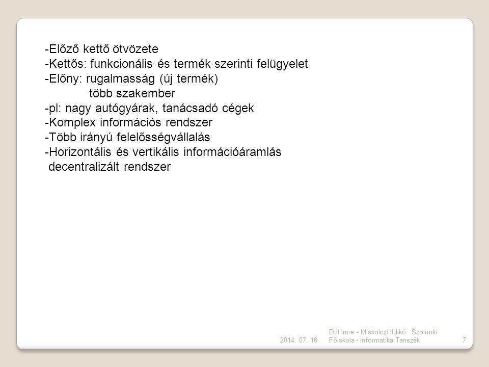 2014. 07. 18. Dúl Imre - Miskolczi Ildikó Szolnoki Főiskola - Informatika Tanszék7 -Előző kettő ötvözete -Kettős: funkcionális és termék szerinti felü