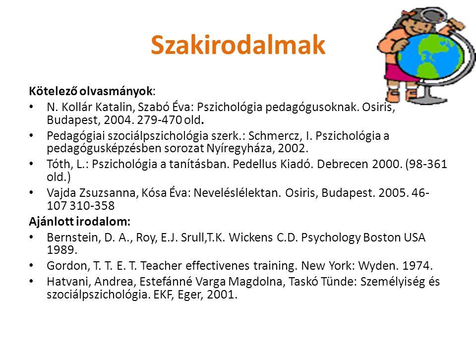 Szakirodalmak Kötelező olvasmányok: N. Kollár Katalin, Szabó Éva: Pszichológia pedagógusoknak. Osiris, Budapest, 2004. 279-470 old. Pedagógiai szociál