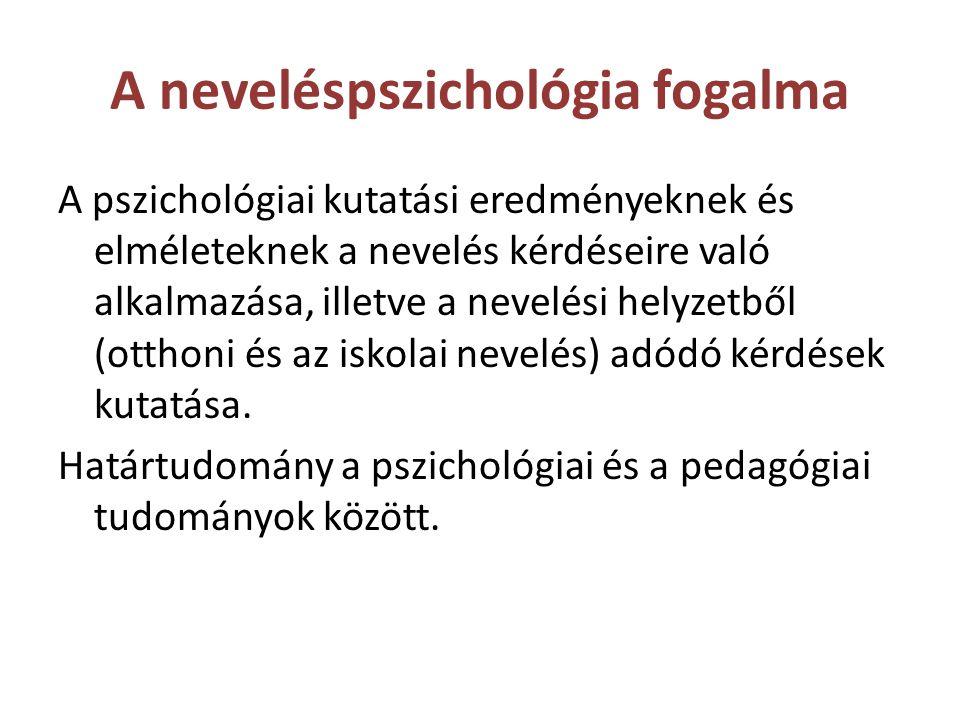 A neveléspszichológia fogalma A pszichológiai kutatási eredményeknek és elméleteknek a nevelés kérdéseire való alkalmazása, illetve a nevelési helyzet