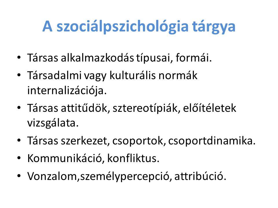 A szociálpszichológia tárgya Társas alkalmazkodás típusai, formái. Társadalmi vagy kulturális normák internalizációja. Társas attitűdök, sztereotípiák