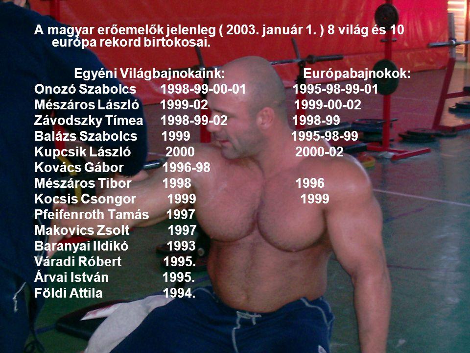 A magyar erőemelők jelenleg ( 2003.január 1. ) 8 világ és 10 európa rekord birtokosai.