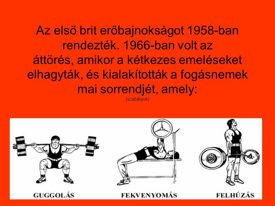 Az első brit erőbajnokságot 1958-ban rendezték.