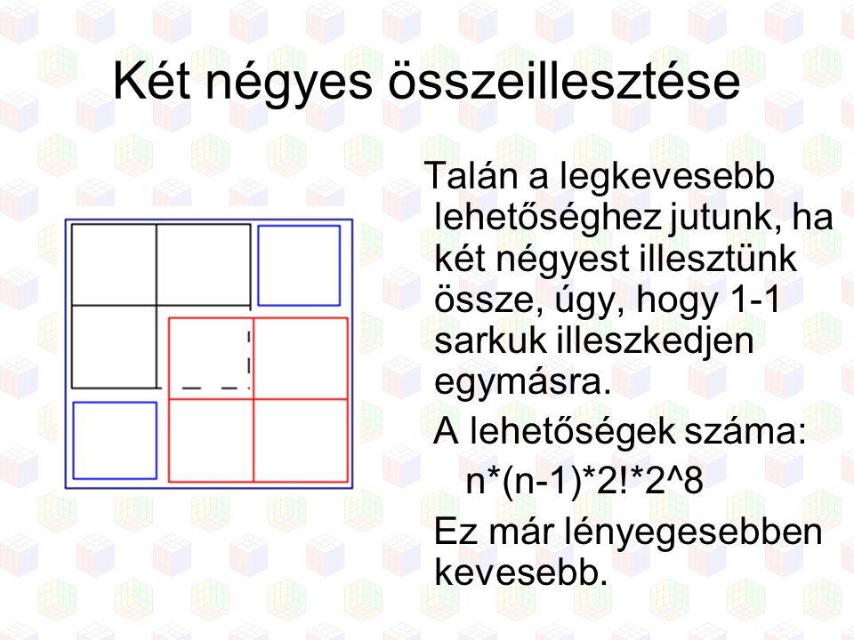 Két négyes összeillesztése Talán a legkevesebb lehetőséghez jutunk, ha két négyest illesztünk össze, úgy, hogy 1-1 sarkuk illeszkedjen egymásra. A leh