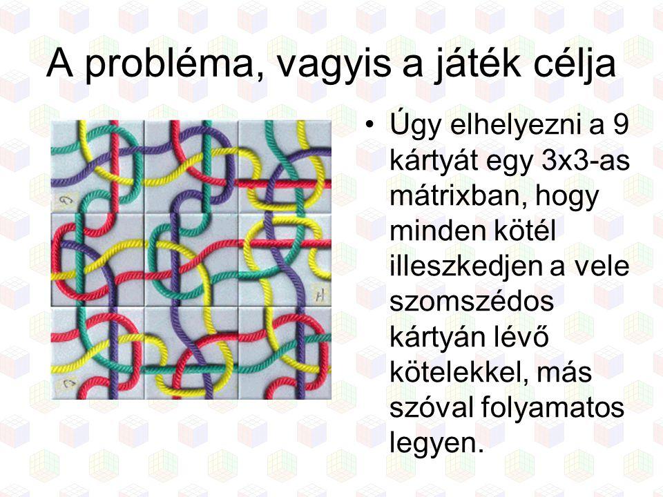 A probléma, vagyis a játék célja Úgy elhelyezni a 9 kártyát egy 3x3-as mátrixban, hogy minden kötél illeszkedjen a vele szomszédos kártyán lévő kötele