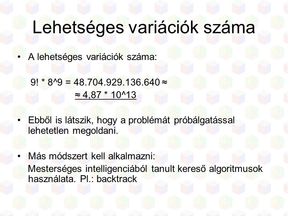 Lehetséges variációk száma A lehetséges variációk száma: 9! * 8^9 = 48.704.929.136.640 ≈ ≈ 4,87 * 10^13 Ebből is látszik, hogy a problémát próbálgatás