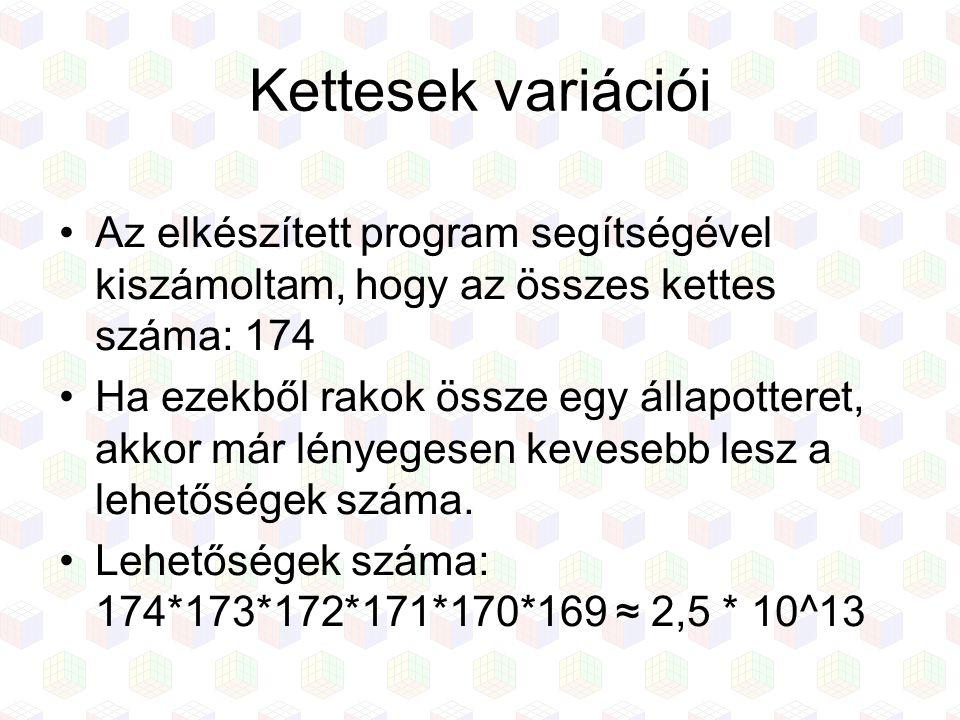 Kettesek variációi Az elkészített program segítségével kiszámoltam, hogy az összes kettes száma: 174 Ha ezekből rakok össze egy állapotteret, akkor má
