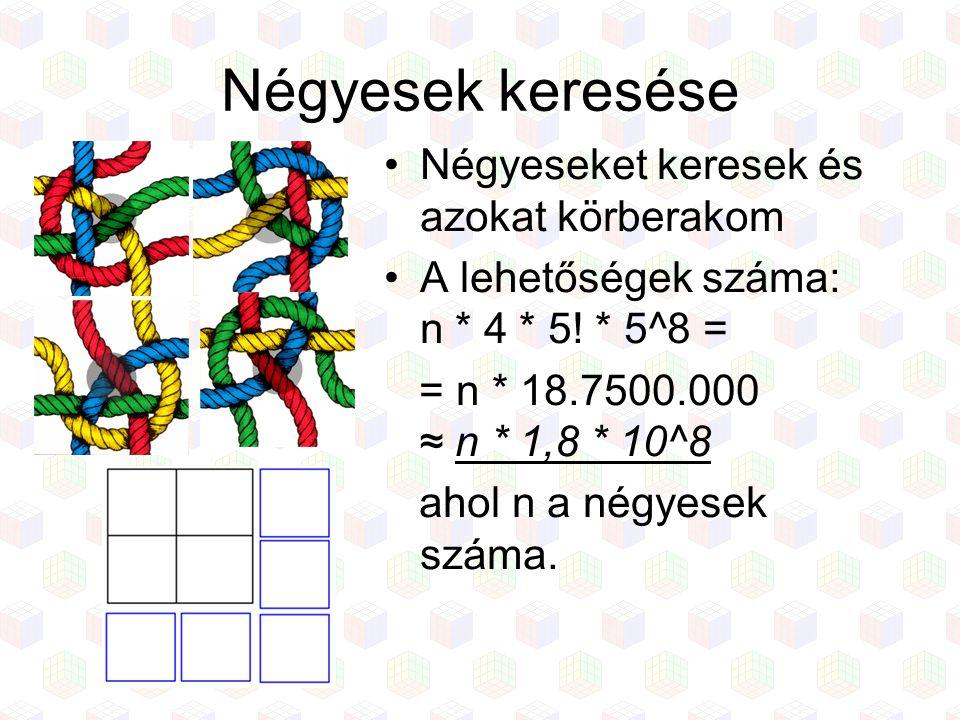 Négyesek keresése Négyeseket keresek és azokat körberakom A lehetőségek száma: n * 4 * 5! * 5^8 = = n * 18.7500.000 ≈ n * 1,8 * 10^8 ahol n a négyesek
