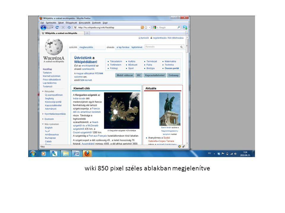 wiki 850 pixel széles ablakban megjelenítve