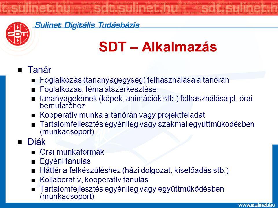 www.sulinet.hu SDT – pedagógiai gyakorlat SDT – korszerű eszköz a módszertani arzenálban Konstruktív pedagógiai elvek támogatása Pedagógiai programok, tantervek elektronikus tananyag háttere illeszkedés a tantervekhez – oktatáspolitikai időtállóság Iskolán kívüli tanulás, szakképzés, felnőttképzés A kommunikáció és az együtt tanulás elektronikus színterei SDT a pedagógusok képzésében és továbbképzésében