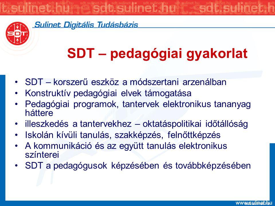 www.sulinet.hu SDT – pedagógiai gyakorlat SDT – korszerű eszköz a módszertani arzenálban Konstruktív pedagógiai elvek támogatása Pedagógiai programok,