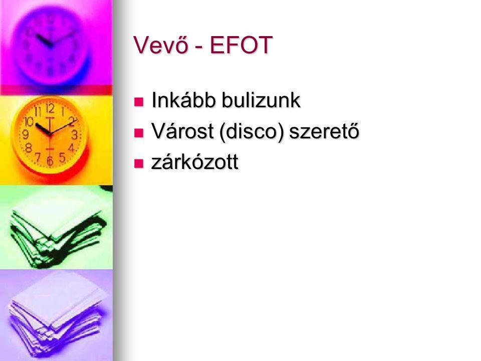 Vevő - EFOT Inkább bulizunk Inkább bulizunk Várost (disco) szerető Várost (disco) szerető zárkózott zárkózott