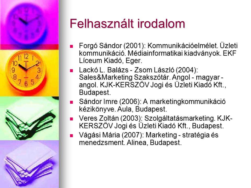 Felhasznált irodalom Forgó Sándor (2001): Kommunikációelmélet. Üzleti kommunikáció. Médiainformatikai kiadványok. EKF Líceum Kiadó, Eger. Forgó Sándor