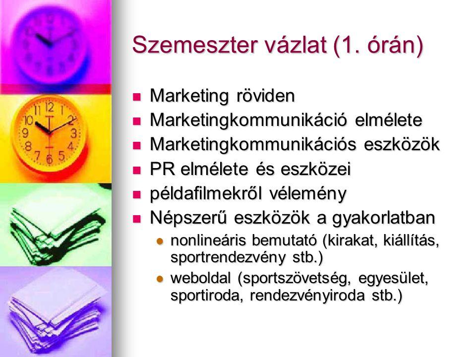 Szemeszter vázlat (1. órán) Marketing röviden Marketing röviden Marketingkommunikáció elmélete Marketingkommunikáció elmélete Marketingkommunikációs e