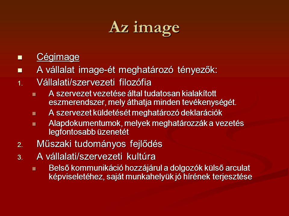 Az image Cégimage Cégimage A vállalat image-ét meghatározó tényezők: A vállalat image-ét meghatározó tényezők: 1. Vállalati/szervezeti filozófia A sze