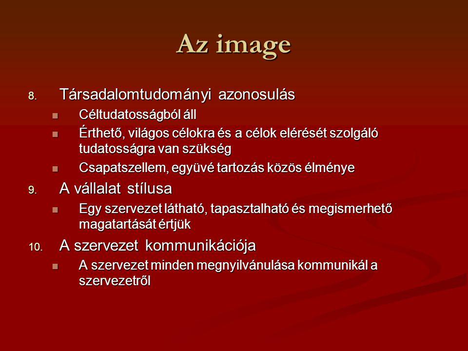 Az image 8. Társadalomtudományi azonosulás Céltudatosságból áll Céltudatosságból áll Érthető, világos célokra és a célok elérését szolgáló tudatosságr