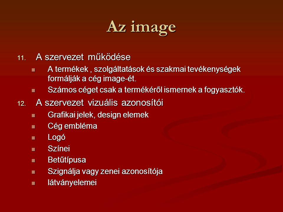 Az image 11. A szervezet működése A termékek, szolgáltatások és szakmai tevékenységek formálják a cég image-ét. A termékek, szolgáltatások és szakmai