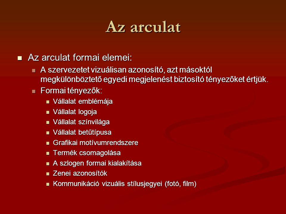 Az arculat Az arculat formai elemei: Az arculat formai elemei: A szervezetet vizuálisan azonosító, azt másoktól megkülönböztető egyedi megjelenést biz