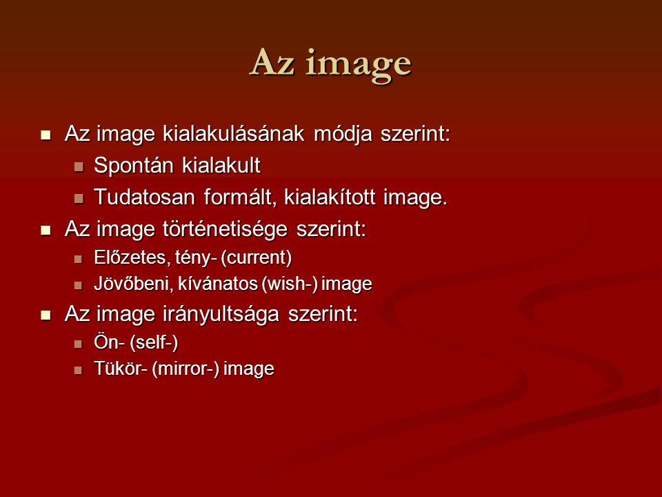 Az image Az image kialakulásának módja szerint: Az image kialakulásának módja szerint: Spontán kialakult Spontán kialakult Tudatosan formált, kialakít