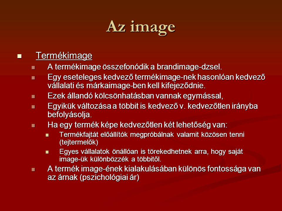Az image Termékimage Termékimage A termékimage összefonódik a brandimage-dzsel. A termékimage összefonódik a brandimage-dzsel. Egy eseteleges kedvező