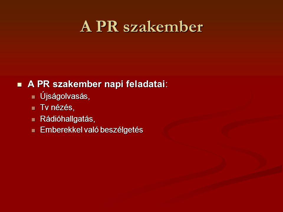 A PR szakember A PR szakember napi feladatai: A PR szakember napi feladatai: Újságolvasás, Újságolvasás, Tv nézés, Tv nézés, Rádióhallgatás, Rádióhall