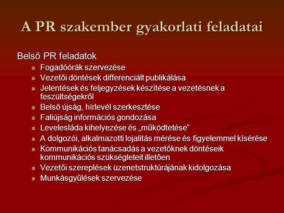 A PR szakember gyakorlati feladatai Belső PR feladatok Fogadóórák szervezése Fogadóórák szervezése Vezetői döntések differenciált publikálása Vezetői