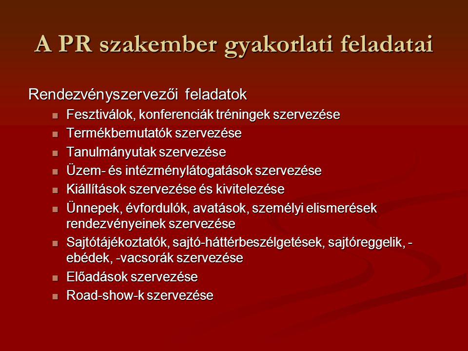 A PR szakember gyakorlati feladatai Rendezvényszervezői feladatok Fesztiválok, konferenciák tréningek szervezése Fesztiválok, konferenciák tréningek s