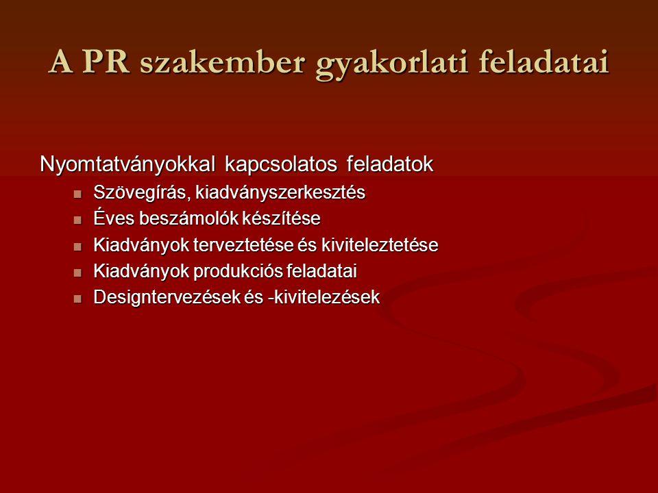 A PR szakember gyakorlati feladatai Nyomtatványokkal kapcsolatos feladatok Szövegírás, kiadványszerkesztés Szövegírás, kiadványszerkesztés Éves beszám