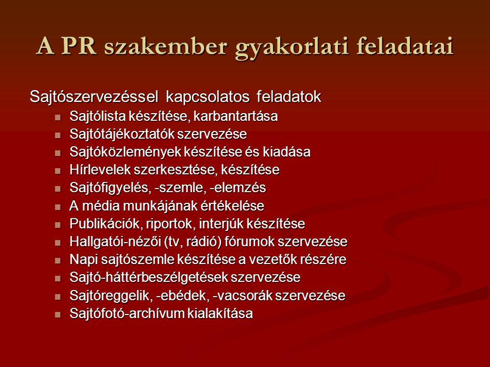 A PR szakember gyakorlati feladatai Sajtószervezéssel kapcsolatos feladatok Sajtólista készítése, karbantartása Sajtólista készítése, karbantartása Sa