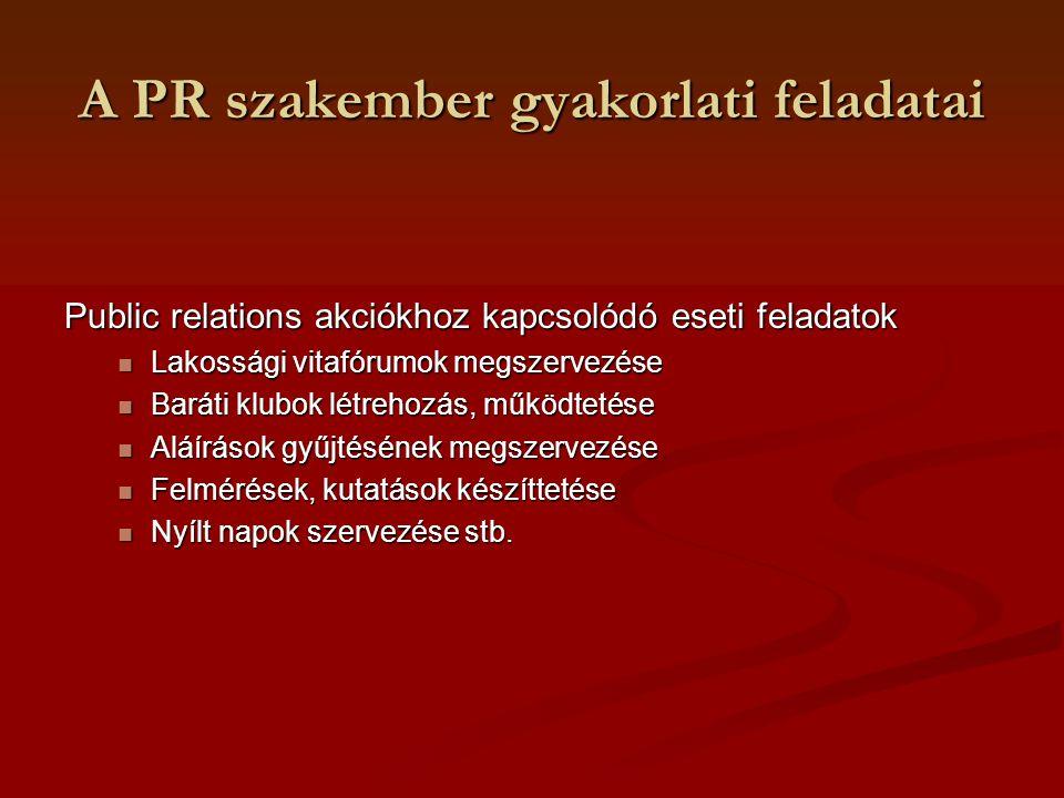 A PR szakember gyakorlati feladatai Public relations akciókhoz kapcsolódó eseti feladatok Lakossági vitafórumok megszervezése Lakossági vitafórumok me