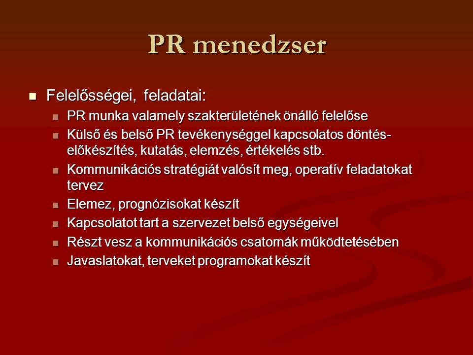 PR menedzser Felelősségei, feladatai: Felelősségei, feladatai: PR munka valamely szakterületének önálló felelőse PR munka valamely szakterületének öná
