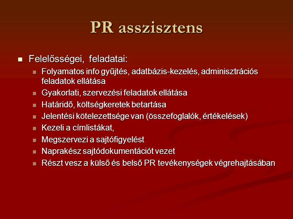PR asszisztens Felelősségei, feladatai: Felelősségei, feladatai: Folyamatos info gyűjtés, adatbázis-kezelés, adminisztrációs feladatok ellátása Folyam