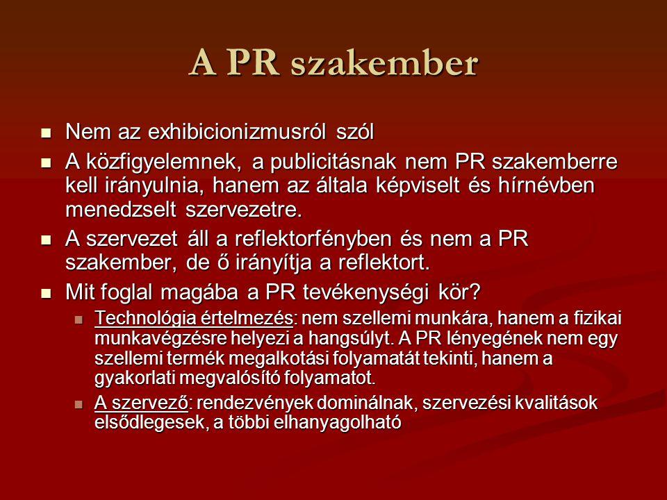 A PR szakember Csatornaorientált: újságírással rokonítja, kizárólag a közvetítőkre, a médiára irányul a figyelmük Csatornaorientált: újságírással rokonítja, kizárólag a közvetítőkre, a médiára irányul a figyelmük Below the time: tipikus reklámos/marketinges gondolkodásmód.