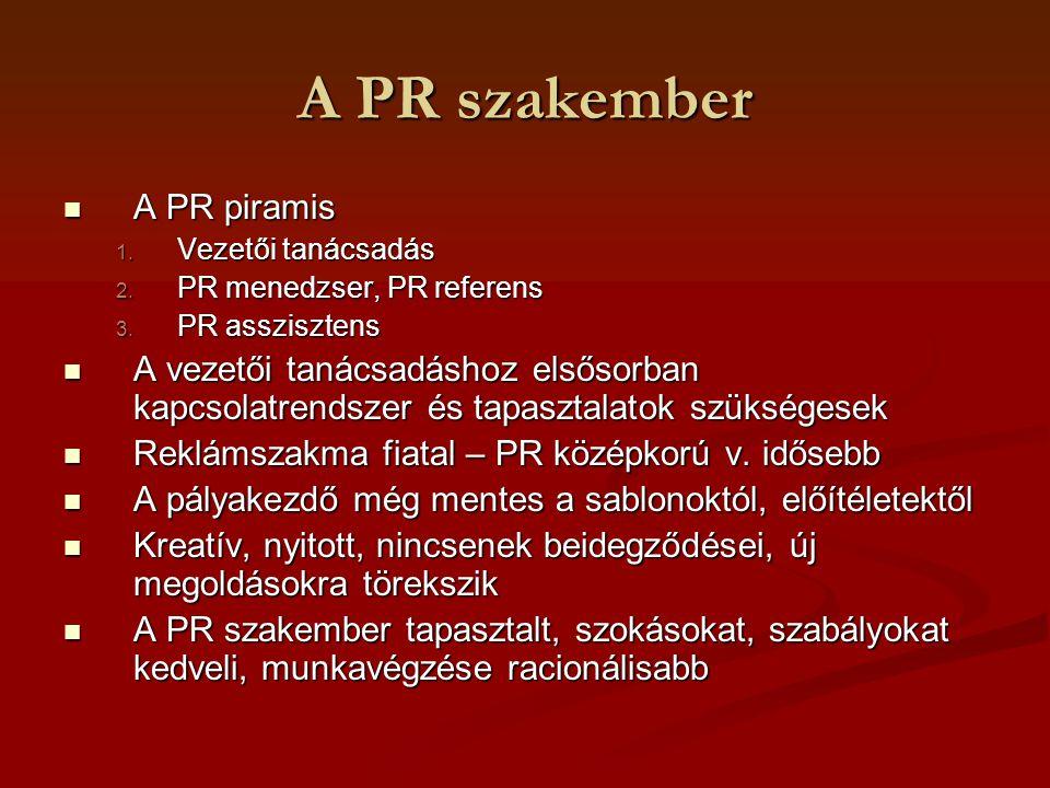 A PR szakember A PR piramis A PR piramis 1. Vezetői tanácsadás 2. PR menedzser, PR referens 3. PR asszisztens A vezetői tanácsadáshoz elsősorban kapcs