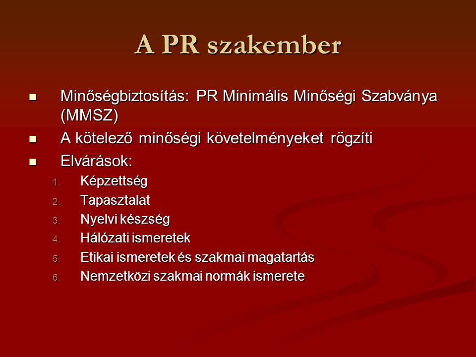 A PR szakember Képzettség: Képzettség: Felsőfokú végzettség vagy Felsőfokú végzettség vagy Egyéb kommunikációs v.