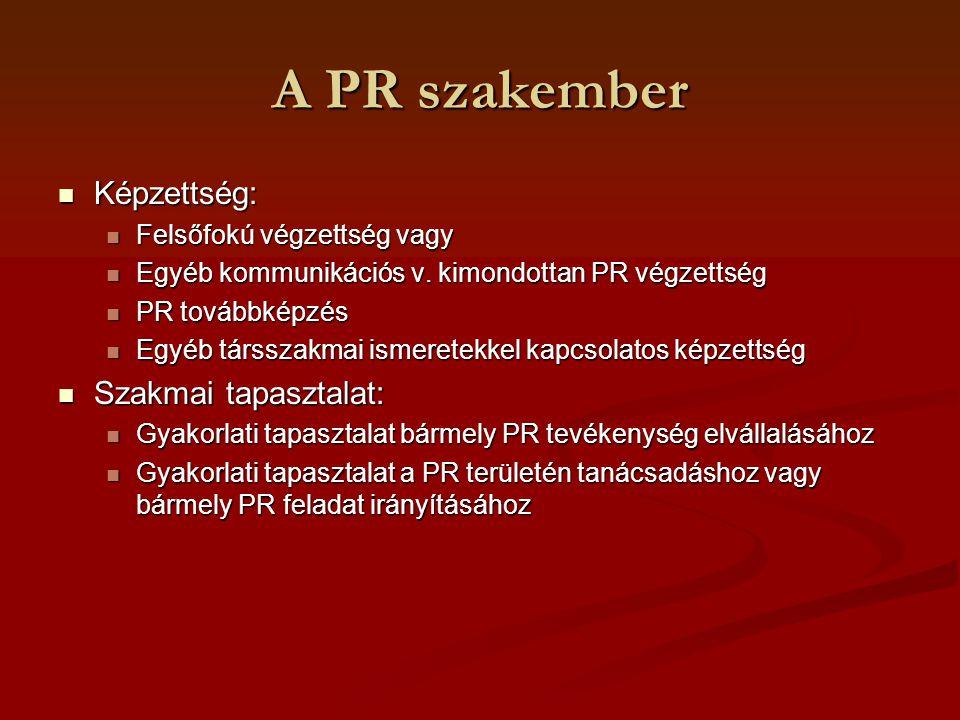 A PR szakember Nyelvi készségek: Nyelvi készségek: Írott és beszélt anyanyelv magas szintű ismerete Írott és beszélt anyanyelv magas szintű ismerete Készség az info-k különböző célcsoportok felé történő közvetítésére Készség az info-k különböző célcsoportok felé történő közvetítésére A PR terminológia, szakkifejezések ismerete A PR terminológia, szakkifejezések ismerete Képesség az irodalom olvasására Képesség az irodalom olvasására Képesség a szükséges idegen nyelven folyó munkavégzésére Képesség a szükséges idegen nyelven folyó munkavégzésére Ágazati terminológia ismerete, ahol dolgozik Ágazati terminológia ismerete, ahol dolgozik