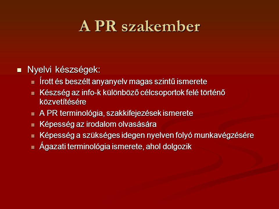 PR igazgató, PR főnök Felelősségei, feladatai: Felelősségei, feladatai: PR szempontok képviselete a felső vezetés döntéseiben PR szempontok képviselete a felső vezetés döntéseiben Egyszemélyi felelőssége a PR tev.